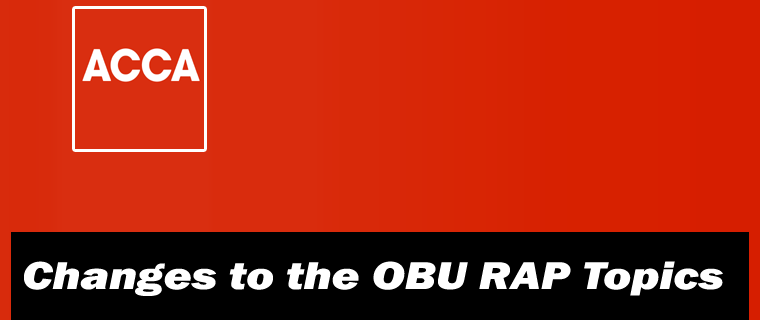 OBU RAP Changes to the Topic 4, 5, 8 and 15